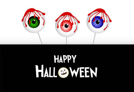 Vector lettering Happy Halloween. Cheerful illustration. Isolated on white background Stock Illustratie