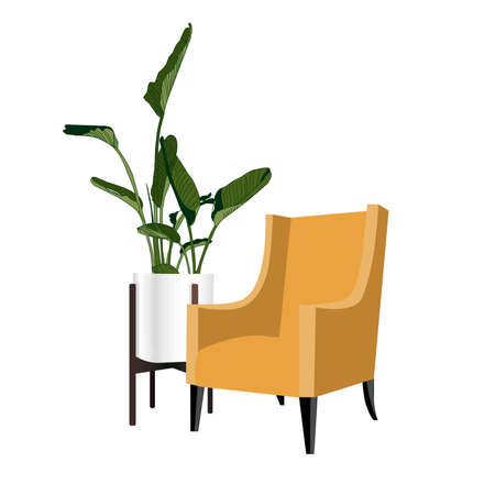 The chair is against the wall. vector illustration.