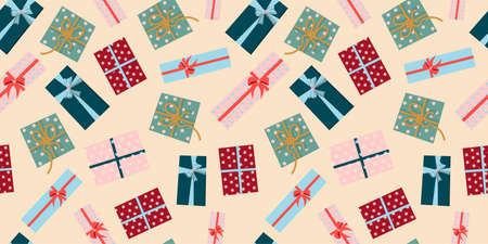 Drawing for the design of wrapping paper. Christmas gifts on a pink background. Festive mood. Vector illustration for web and print.