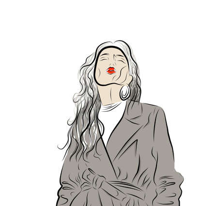 Creative illustration of a young woman. A young girl. Lady in a coat. Nice girl in a fashionable jacket. Fashionable hand-drawn illustration. Stock Illustratie