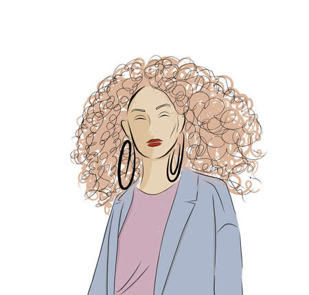 Creative illustration of a young woman. Young girl with blonde. Lady in a coat. Nice girl in a fashionable jacket. Fashionable hand-drawn illustration. Stock Illustratie