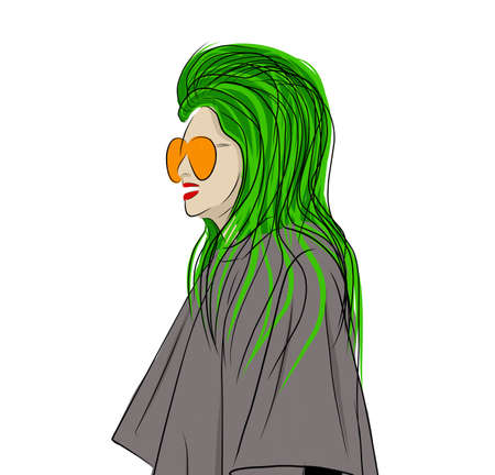Creative illustration of a young woman. Young girl with green hair. Lady in a coat. Nice girl in a fashionable jacket. Fashionable hand-drawn illustration.