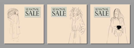 Creative collection of designs for promotions and discounts. Sale banner. Young pretty girls. Modern advertising. Stock Illustratie
