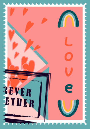 romantic postage stamps. envelopes and cards for valentine's day. Top-down view. Modern vector illustration for web design and print. Retro stamps. Correspondence and postal delivery concept. Ilustración de vector