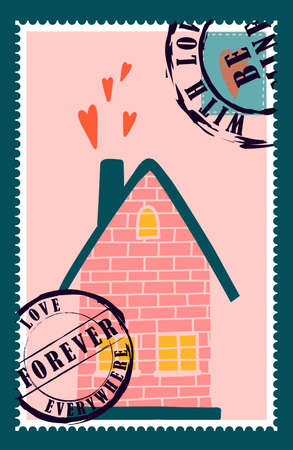 romantic postage stamps. envelopes and cards for valentine's day. Top-down view. Modern vector illustration for web design and print. Retro stamps. Correspondence and postal delivery concept.