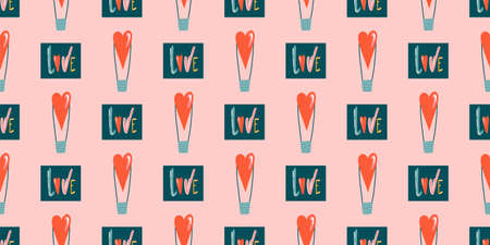 Seamless romantic pattern with handmade red hearts. Colorful doodle hearts on a dark background. Template ready for design, postcard, print, poster, party, Valentine's Day, vintage textile. Vector.