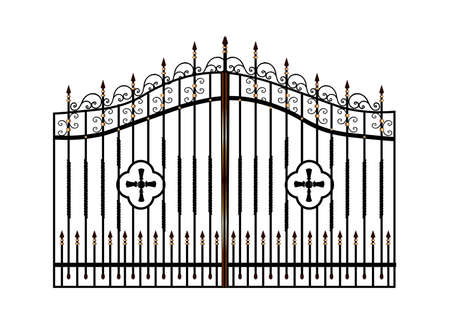 Forged metal gates. Sketch. Victorian style. Artistic forging. Fencing.Doors for the temple, church, Christian cross. Entrance zone front entrance Standard-Bild