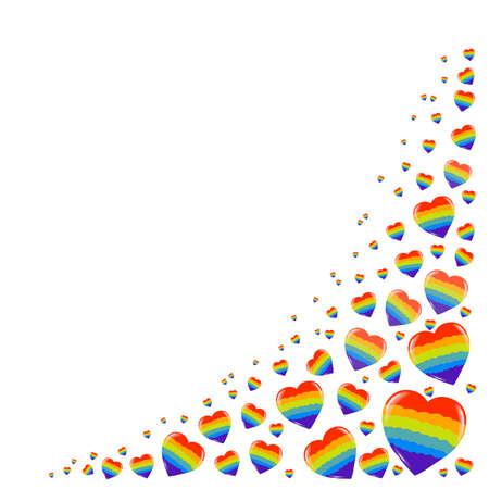 Gay Pride. LGBT concept. Cartoon vector colorful illustration. Valentine's Day. Rainbow heart. Lesbian-gay-bisexual-transgender. Rainbow love concept. Vector illustration