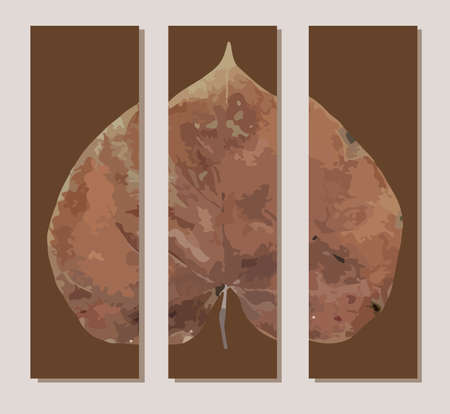Original interior panel on the wall. Triptych. Autumn leaf. Trend poster.