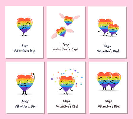 Rainbow hearts for celebration design. Decorative symbol. Bright decoration. Party invitation. Holiday greeting card. Trendy vector style.