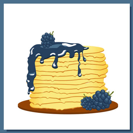 Pancakes. Blackberry jam. Maslenitsa week. Spring festival meeting. Pancakes glazed on white plate. Vector illustration.