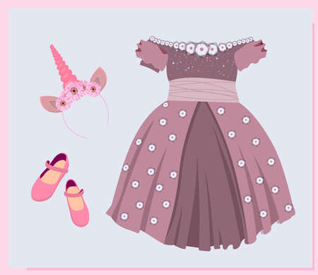holiday shoes for girls, children's model shoes. Beautiful ball gown dress. Skirt with tulle and bow. Princess outfit. Vector illustration isolated.