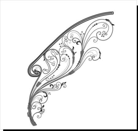 Forged railings. Decorative handrail for stairs. Forged metal. Beautiful fence for the terrace.Vector illustration.