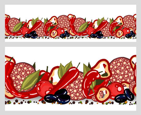 Kitchen textile design. Cooking food border seamless. Pizza, salami, peppers and olives with olives. Italian pizza.