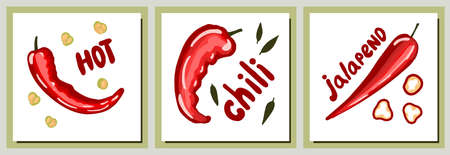 Vector template for printing on textiles with peppers. Hot big pepper poster. Kitchen textile design. Cooking theme.