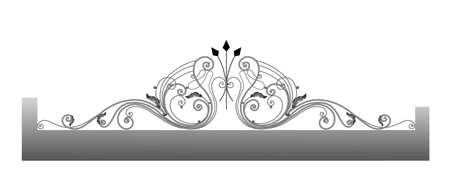 Vector template for a fence. Wrought iron. Metal fence sketch. Artistic forging. Metal garden decoration.