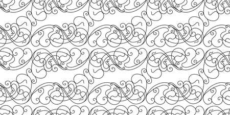 Abstract pattern in Victorian style. Curls are black on a white background. Geometric pattern seamless. Vectores