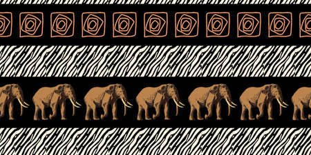 ETHNIC TREND. PAINTING IN AFRICAN STYLE. SEAMLESS AFRICAN PATTERN. TRADITIONAL PATTERN. savanna animals. elephant. Vector illustration. Fashion.