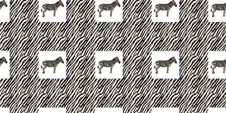 ETHNIC TREND. PAINTING IN AFRICAN STYLE. SEAMLESS AFRICAN PATTERN. TRADITIONAL PATTERN. savanna animals. zebra. Vector illustration. Fashion. Vectores