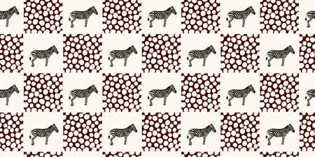 ETHNIC TREND. PAINTING IN AFRICAN STYLE. SEAMLESS AFRICAN PATTERN. TRADITIONAL PATTERN. savanna animals. zebra. Vector illustration. Fashion. Foto de archivo