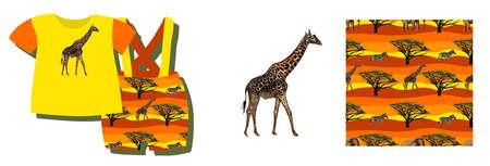 ETHNIC TREND. PAINTING IN AFRICAN STYLE. SEAMLESS AFRICAN PATTERN. TRADITIONAL PATTERN. savanna animals. giraffe. Vector illustration. Fashion. Foto de archivo