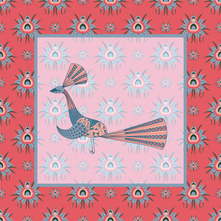 Pattern with CHRYSANTHEMES AND PEACCO. PATTERN IN CHINESE STYLE. STYLIZED PEACOCK. Vector illustration. Foto de archivo