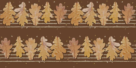 Seamless autumn pattern. Oak leaves. Cool trend pattern. Textile and fabric design. Vector illustration.