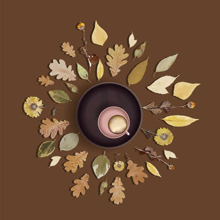 Cup of cappuccino or latte on the table top view. Autumn illustration. Autumn leaves. Herbal tea. Vector illustration. Vectores