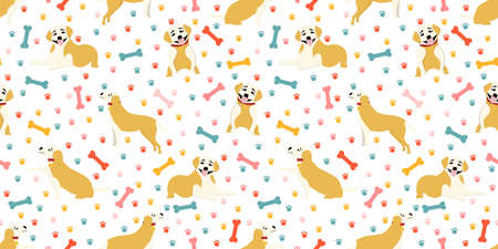 Seamless pattern with puppies. Pets digital paper. Pattern for children's textiles and clothing. DOGS LABRADOR FIGURE. Vector illustration.