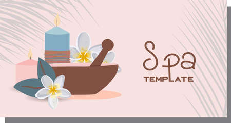 Advertising template for spa salon. Beauty salon horizontal banner. Personal care and cosmetics concept. Relaxation and massage. Cosmetics and items discount. Vector illustration