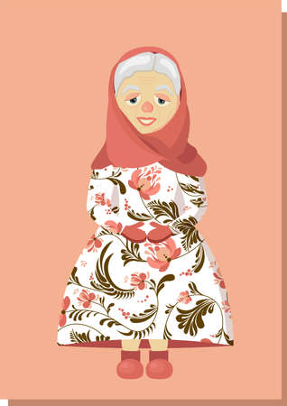 An elderly woman in a headscarf. Grandmother. Old woman character. Leisure of pensioners. Vector illustration Vectores