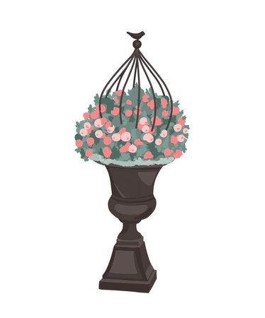 garden pots for flowers. Garden decoration. Flowers in a pot. Beautiful flower arrangement. Street vase. Vector illustration