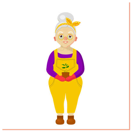 An elderly woman is a gardener. Grandmother. Old woman character. Leisure of pensioners. Vector illustration