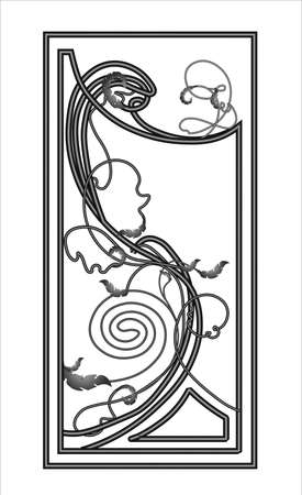 A sketch of a wrought iron fence or fence. Hand-drawn model of a forged product. Artistic forging. Metal garden fence. Vector illustration. Foto de archivo