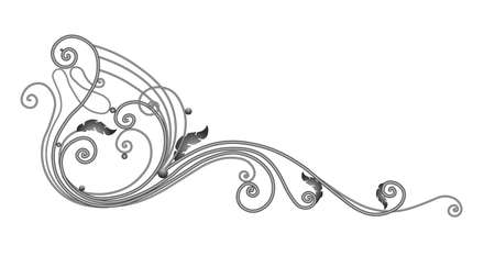 A sketch of a wrought iron fence or fence. Hand-drawn model of a forged product. Artistic forging. Metal garden fence. Vector illustration. Vectores