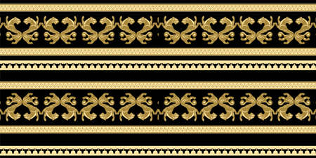 Scythian ethnics. Scythian ornament seamless. Zoological style. Historical seamless pattern. Northern Black Sea region art and culture. Animal in the ancient world. Ethnic pattern Ilustración de vector