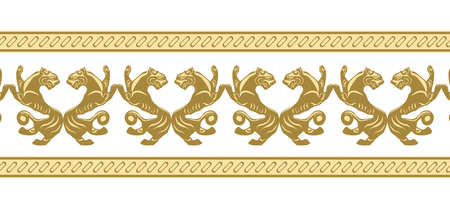 Scythia. Black Sea culture. The art of the Scythians. Zoological style. Ethnic seamless ornament with animals.