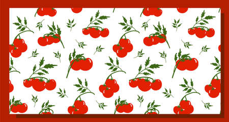 Seamless tomato background. Pattern on the theme of vegetables. Red tomatoes on a white background. Kitchen textiles design. Summer pattern.