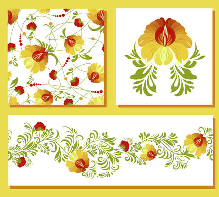 ethnic Ukrainian pattern. Petrikovskaya painting. Traditional Ukrainian painting. Abstract flowers on a white background. set for design of clothes, fabrics and textiles. Vectores