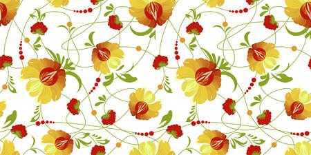 ethnic Ukrainian pattern. Petrikovskaya painting. Traditional Ukrainian painting. Abstract flowers on a white background. Vectores