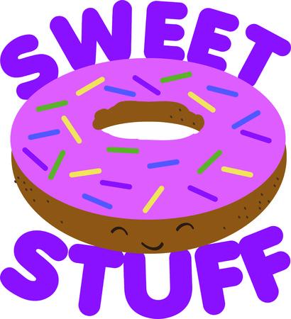 Put a doughnut on a kitchen project. Illustration