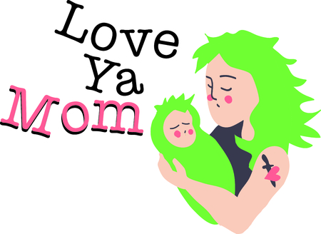 This punk mother and child is a great design for sharing maternal love.