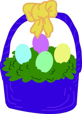 이 달걀 바구니로 부활절을 축하하십시오. 일러스트