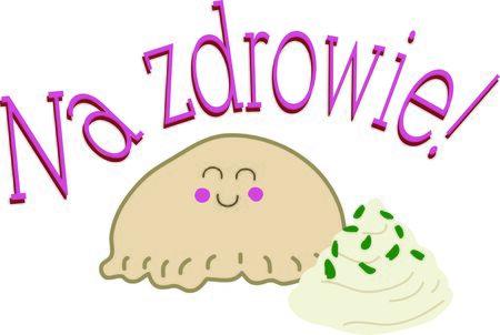 Een favoriet van iedereen die dol is op Polen, gebruik deze pierogi voor je vriend. Stock Illustratie