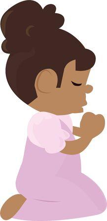 이 어린 소녀와 함께기도하도록 어린이들에게 상기시킨다.