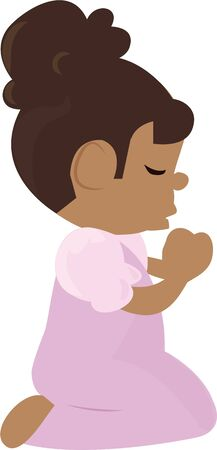 Remind children to say their prayers with this little girl. Ilustrace