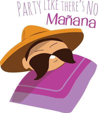 siesta: Have a smiling guy for a fiesta party. Illustration