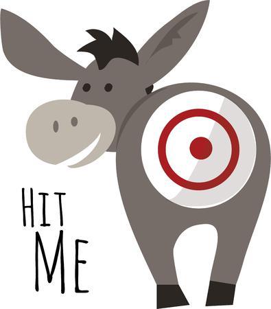 burro: Ponle la cola al burro es un juego clásico para una fiesta de cumpleaños. Vectores