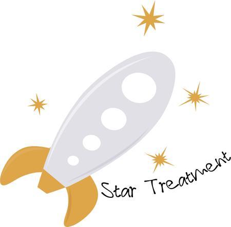 Laat uw verbeelding de vrije loop naar de hemel met een raket. Stock Illustratie