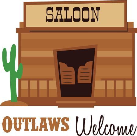 Cowboys will enjoy a saloon design on a cap. Çizim